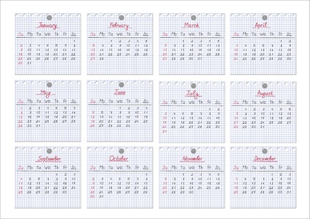 Calendar for year 2011 with each month drawn on checked notepad sheets. Illustration