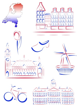Set of drawn stylized sights and symbols of Netherlands