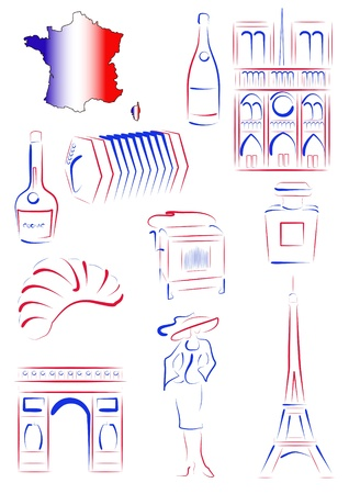 Set of drawn stylized sights and symbols of France