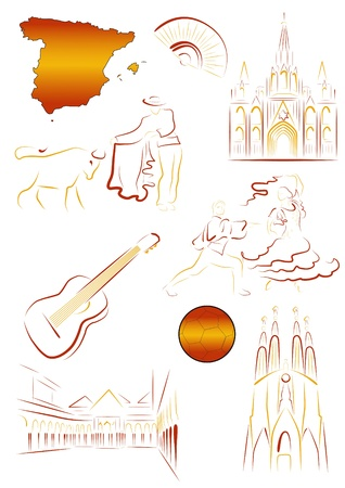 Set of drawn stylized sights and symbols of Spain Illustration