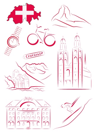 Set of drawn stylized sights and symbols of Switzerland Vector