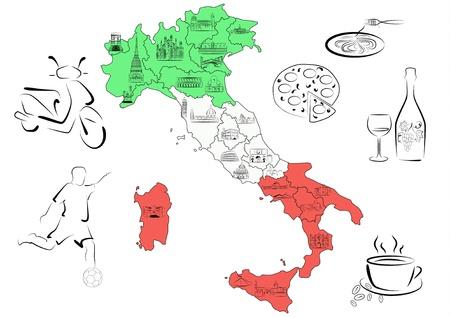 geteilt: Vector gezeichnet Karte Italiens aufgeteilt nach Regionen mit Hauptsehensw�rdigkeiten der jeweiligen Region.