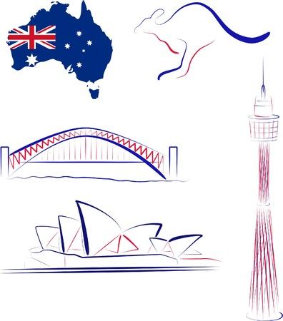 Австралия: Sights and symbols of Australia illustration. Иллюстрация