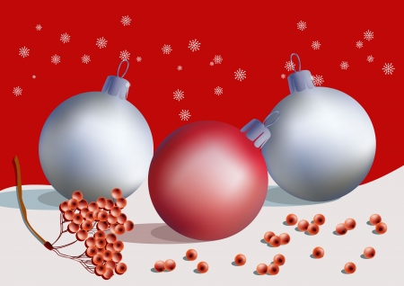 ashberry: Christmas postcard with decoration balls, snowflakes and ashberry branch Illustration