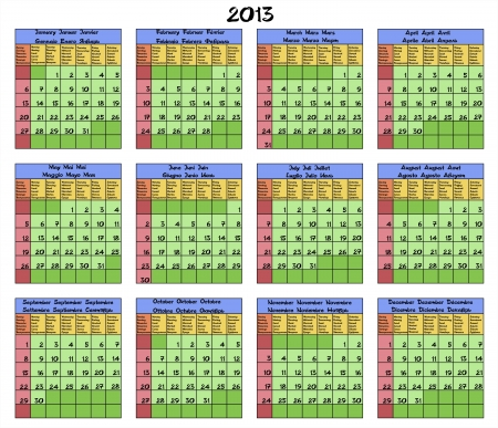 Calendar for year 2013 with months and weekdays named in six languages  English, Spanish, Italian, French, German and Russian  Vector illustration  Vector