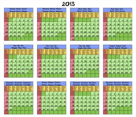 Calendario para el a�o 2013, meses y d�as de la semana nombrados en seis idiomas ingl�s, espa�ol, italiano, franc�s, alem�n y ruso ilustraci�n vectorial