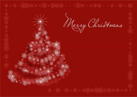 雪片、様式化されたクリスマス ツリー、テキスト用の空き容量を持つ赤のクリスマスのポストカード