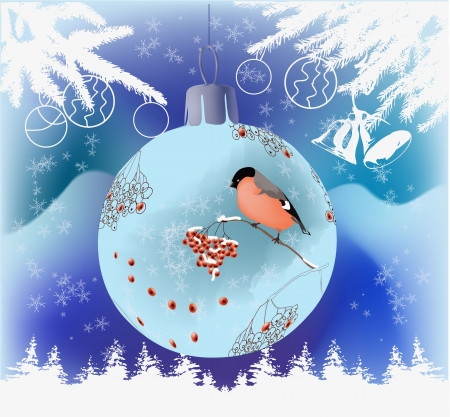 Christmas theme vector illustration with bullfinch and ashberry drawn on decoration ball, snowflakes, christmas tree and bells  Vector