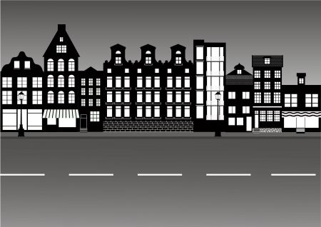 caffee: Quiet european city street in black and white vector illustration Illustration