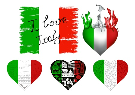 Set of flags and hearts in Italian tricolor with symbols of Italy  Vector