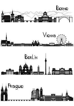 De belangrijkste bezienswaardigheden van de vier Europese hoofdsteden - Bern, Berlijn, Wenen en Praag, getekend in zwart-wit stijl