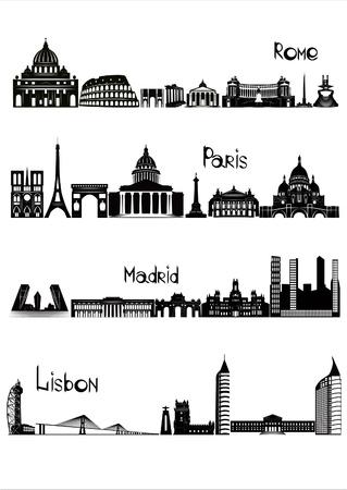 De belangrijkste bezienswaardigheden van de vier Europese hoofdsteden - Rome, Parijs, Madrid en Lissabon, getekend in zwart-wit stijl Stockfoto - 16529327