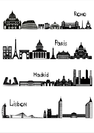 Main sights of four european capitals - Rome, Paris, Madrid and Lisbon, drawn in black and white style   Illustration