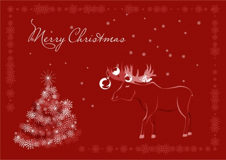 Red Christmas postcard with elk, snowflakes, stylized christmas tree and free space for text Stock Vector - 16529400