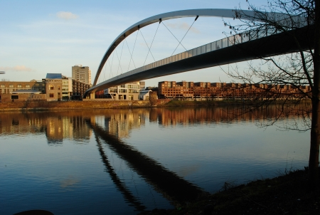 Hoge brug (Hoeg Broegk)  bridge over Maas (Meuse) river in Maastricht.