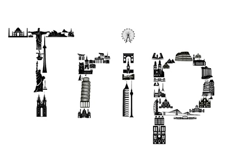 Word trip assembled of world sights. Illustration