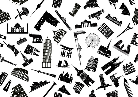 Vector seamless illustration of world sights drawn black and white. Illustration