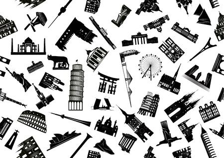 Vector seamless illustration of world sights drawn black and white. Illustration