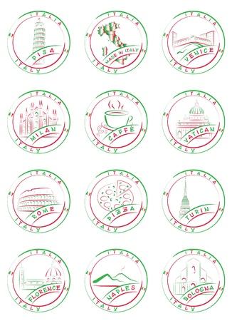 Postzegels en zeehonden van de Italiaanse steden met hun belangrijkste bezienswaardigheden. Vector Illustratie