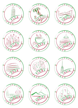 Seals and stamps of Italian cities with their main sights. Vector