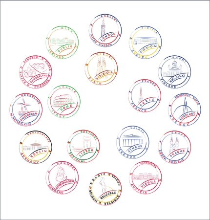 beer tulip: European countries stamps Illustration