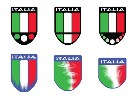 Six emblems with italian tricolor Stock Vector - 16662306