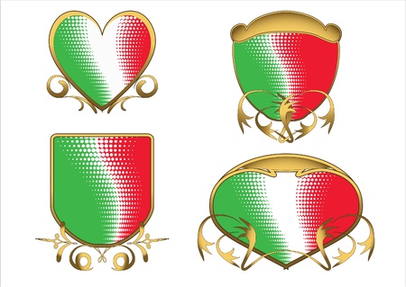 Four Italian tricolor ancient emblems of different forms with golder ornament. Vector