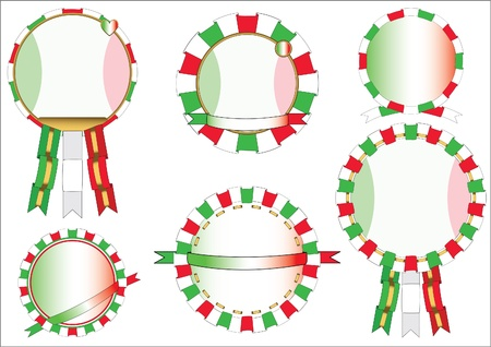 Six round emblems in Italian tricolor with ribbons. Vector