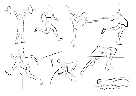 hand lifting weight: Stylized representatives of five athletics disciplines and two figure skating silhouettes
