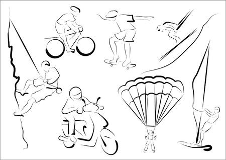windsurf: Reprezentatives estilizados de siete deportes extremales. Vectores