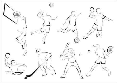 polo ball: Stylized representatives of eight sport games.