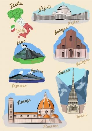 florence italy: Luoghi d'Italia disegnato in stile acquerello.