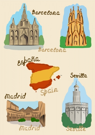 spain map: Sights of Spain drawn in watercolors style. Illustration