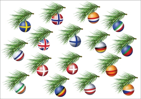 European countries flags sheres on branches of Christmas tree. Vector