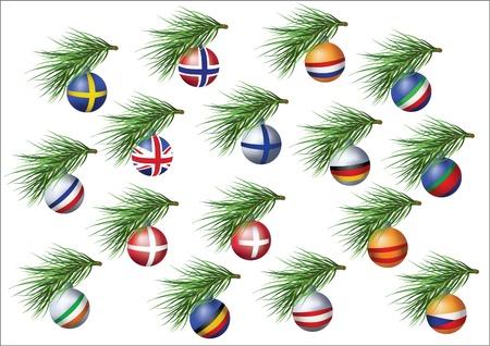 czech switzerland: Paesi europei bandiere sheres su rami di albero di Natale.