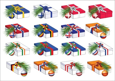 Set of gift boxes wrapped by ribbons in colors of some european countries flags. With christmas tree branches with spheres of the same countries flags on them.