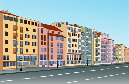 City street with buildings that can be used separately. Vector illustration. Illustration