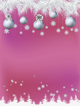 silver balls: Christmas theme decorated card with space for text. Horizontal seamless.