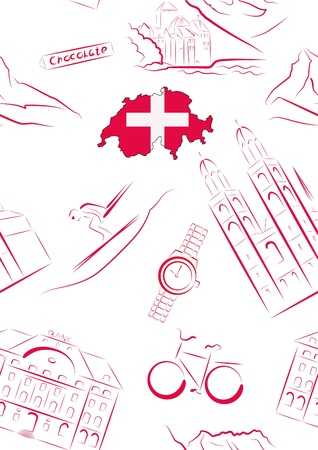Set of vector drawn stylized sights and symbols of Switzerland. Seamless. Stock Vector - 16662321