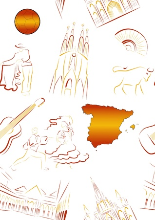 Set of vector drawn stylized sights and symbols of Spain. Seamless. Illustration