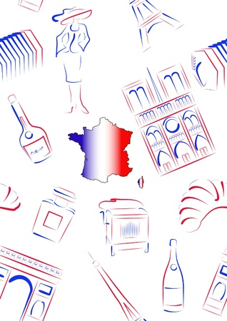 Set of vector drawn stylized sights and symbols of France Stock Vector - 16662308