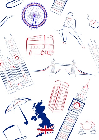 five o'clock: Set of vector drawn stylized sights and symbols of Great Britain. Seamless. Illustration