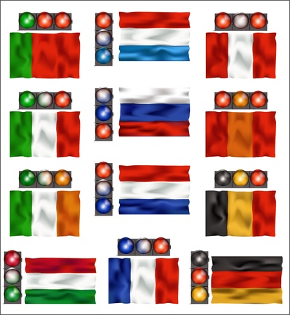 Flags of some european countries with traffic lights in color of these flags. Vector illustration. Stock Vector - 16662382