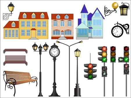 탁상: 전형적인 유럽 거리의 세부 벡터 이미지.