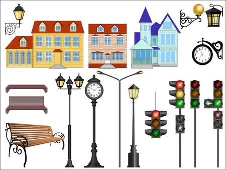 Vector images of details of typical european street. Vector