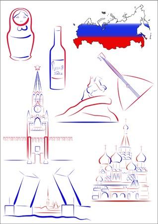 muñecas rusas: Conjunto de vector dibujado monumentos y símbolos estilizados de Rusia