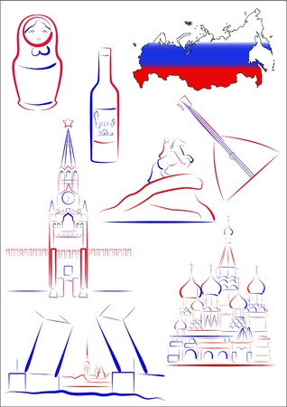 Set of vector drawn stylized sights and symbols of Russia Illustration