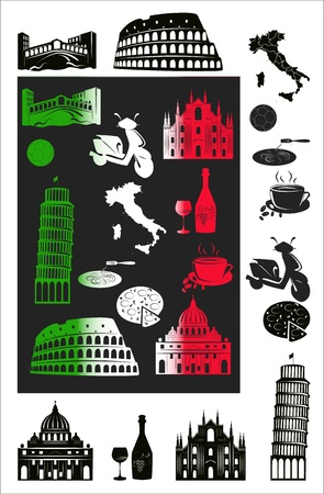 Set of vector drawn stylized silhouettes of sights and symbols of Italy and picture eith hallmark.