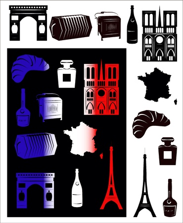 notre: Set of vector drawn stylized silhouettes of sights and symbols of France and picture with hallmarks.
