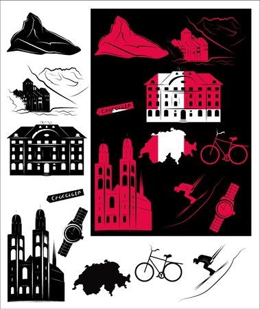 Set of vector drawn stylized silhouettes of sights and symbols of Switzerland and picture with hallmarks. Vector